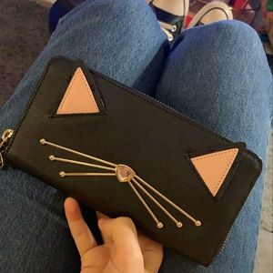 Kate Spade Black Leather Cat Wallet